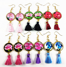 Jiangzimei 24pairs Red Blue Pink Rose Flower Lotus Glass cabochon Ethnic Style Retro Tassels Earrings Golden