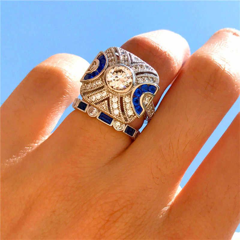 หญิงหรูหราคริสตัล Zircon แหวนหิน Vintage 925 แหวนเงินชุดแต่งงานแหวนหมั้นสำหรับผู้ชายและผู้หญิง