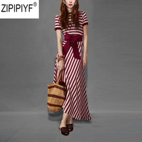 2018 Summer Suits Women Two Pieces Set Knitted Stripped Top O Neck Short Sleeve And Irregular Mid Calf Skirt Set With Sash C1091