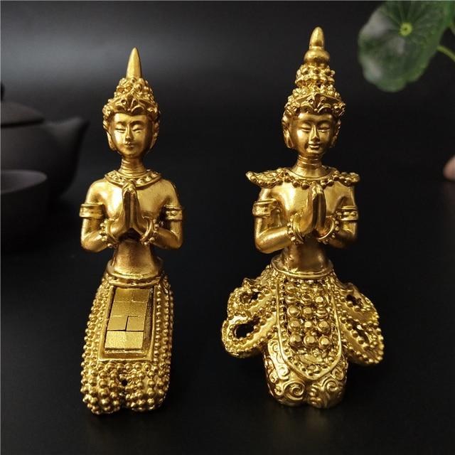 Golden Meditation Buddha Statue Thailand Buddha Sculptures Figurines Resin Crafts Ornament For Home Garden Flowerpot Decoration 1