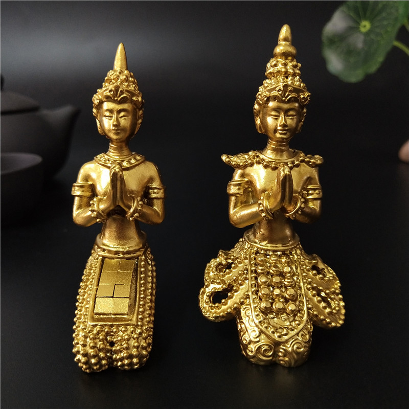 Golden Meditation Buddha Statue Thailand Buddha Sculptures Figurines Resin Crafts Ornament For Home Garden Flowerpot Decoration