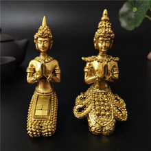 Golden Meditation Buddha Statue Thailand Buddha Sculptures Figurines Resin Crafts Ornament For Home Garden Flowerpot Decoration(China)