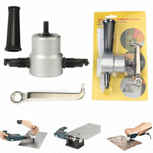 Nibble Metal Cutting Double Head Sheet Nibbler Saw Cutter Tool Drill Attachment Free Cut