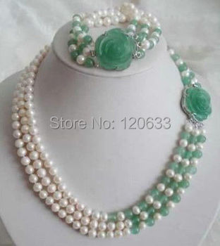women's jewelry White Akoya Cultured Pearl Natural gem Necklace Bracelet Set Silver ..wholesale shipping