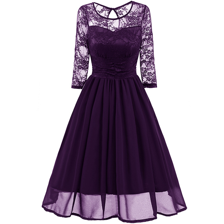 Womens Clothing Plus Size Ball Gown Women Floral Lace Dress Clubwear Dress O-Neck Elegant Ladies Red Party Dresses Female DB0007