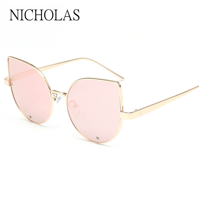 ab69b928f Vintage Cat eye Women Sunglasses Brand Designer Female Flat Rose Gold  Mirror Sun glasses Ladies Eyewear Oculos De Sol Feminino