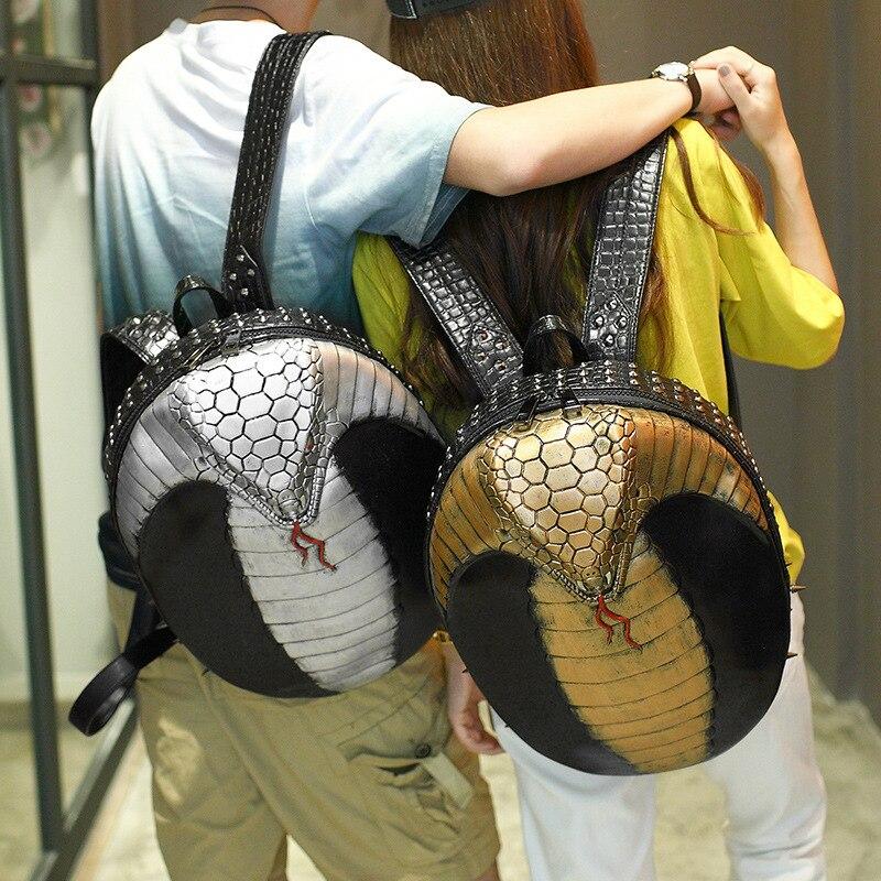 2017 high Qulaity 3D Cobra Emboss Large Capacity Men Restore Backpack Rivet Bags Halloween Cool Leather laptop Bag 2015 qulaity mardrid 14 15 3 men
