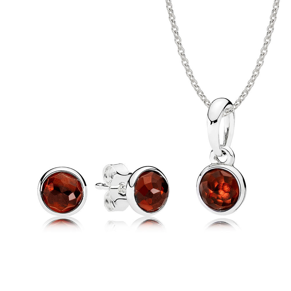 100% 925 Sterling Silver January Droplets Gift Set Fit Charm Original Necklace Women jewelry A set of Prices