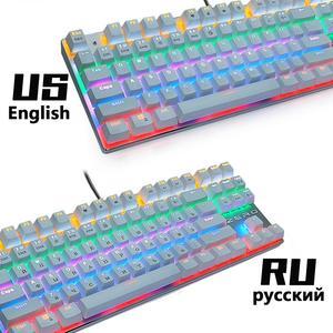 Image 2 - السلكية لوحة مفاتيح الألعاب الميكانيكية الأزرق الأحمر التبديل 87/104 مفاتيح مكافحة الظلال الروسية/الولايات المتحدة LED الخلفية LED للاعبين كمبيوتر محمول