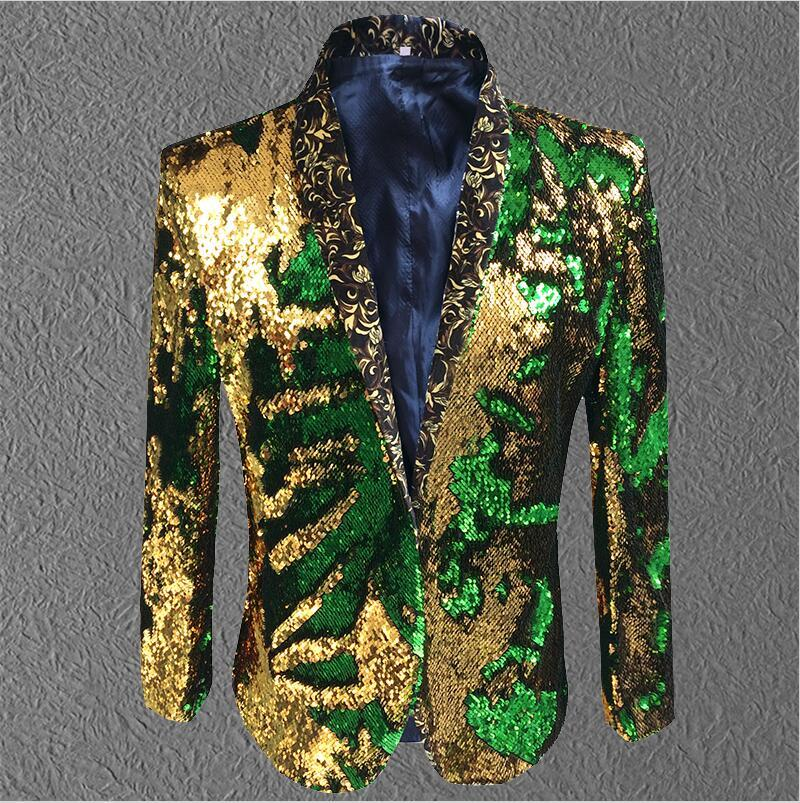 Jacket Men Sequin Gold Green Blazer Men Suit Coat  Male Costume Prom Wedding Groom Outfit Singer Black Party Stage