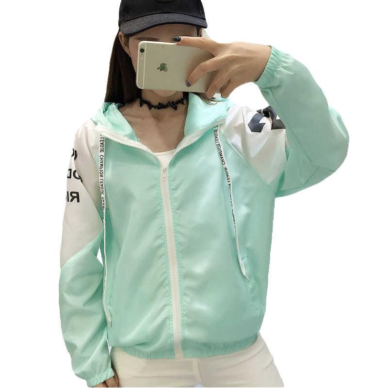 9e81446f305 Chaquetas Mujer 2018 nuevo verano primavera mujeres con capucha chaqueta  femenina moda cuello redondo fino cortavientos