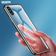 ESR Clear Silicon Ultra Thin Soft TPU Case For 7 7Plus 8 8Plus X Plating Frame Bright Glossy Metal Phone Case For iPhone X 10(China)