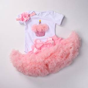 Baby girls Birthday outfits Infant 1st party tutu clothes set with headband White Bodysuit pettiskirt suit for baby girls