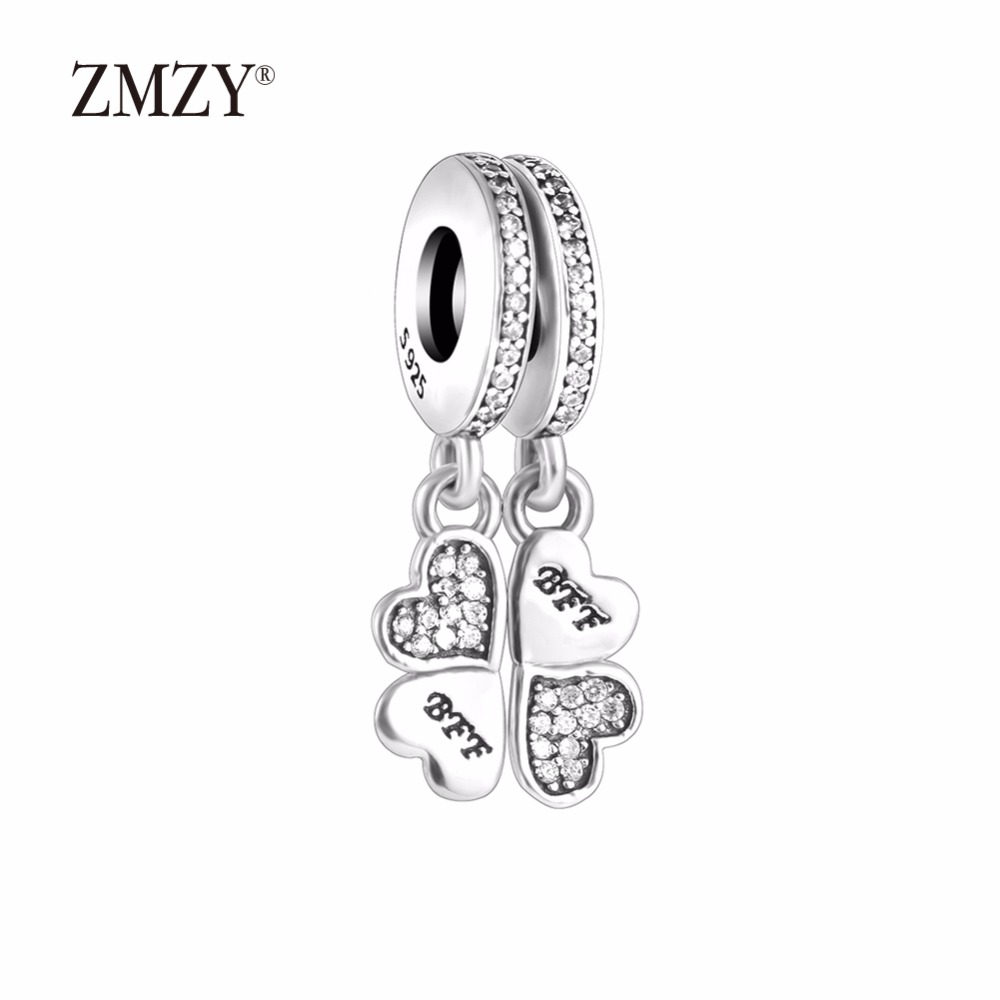 ZMZY Authentic 925 Sterling Silver Charms Heart Dangle with Clear Cubic Zirconia Beads Fits Pandora Charm Bracelet Women Jewelry