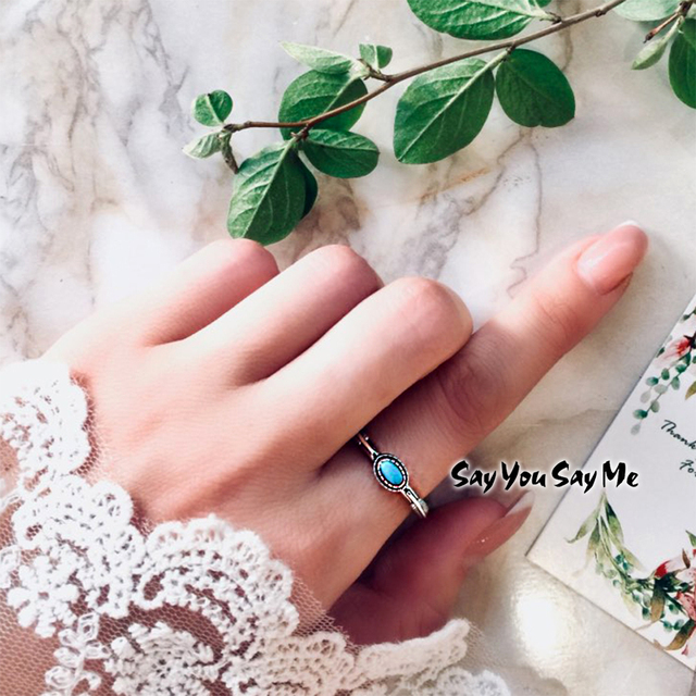 925 Sterling Silver Leaf Ring Wholesale Wedding&Engagement Blue Turquoise Rings