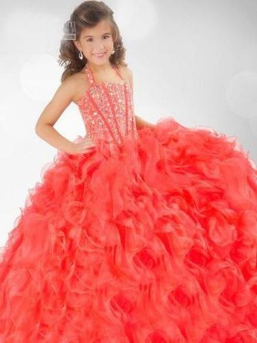 In Stock Size6/8/10/12 Gorgeous Beads Little Girls Princess Dress Prom Gowns Hot in stock layered pre teen party gowns little girls pageant dress pink color