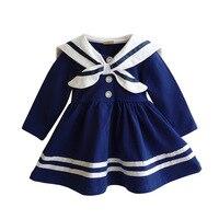 Anlencool Fashion Spring Korean Girls Navy Sailor Suit Dress 2017 Brand New Summer Child College Wind