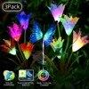 3 חבילה שמש גינה אורות LED צבע שינוי חיצוני שמש מופעל מוקד קישוט שושן פרח פרפר גן אורות