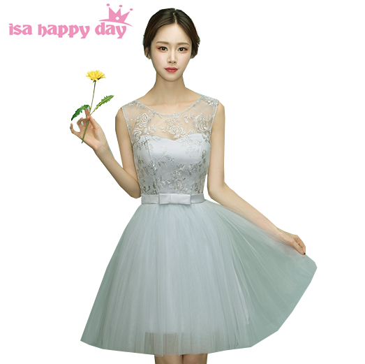 Robe Soire Teen Sweet Sixteen Vintage Short Lace Tulle Spring Formal Prom Dresses 2019 Fabulous Dress Gray Ball Gown H4048