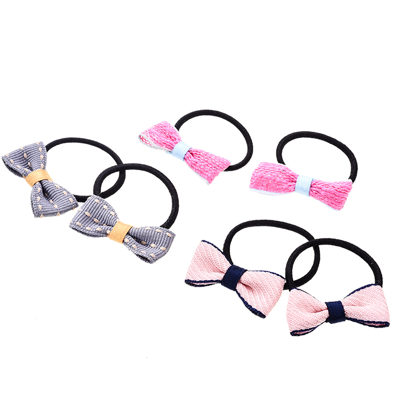M MISM 3 Pairs Bow Tie Elastic Hair Rubber Bands British Style Lattice Stripe Bowknot Scrunchy Ponytail Holders For Women Girls