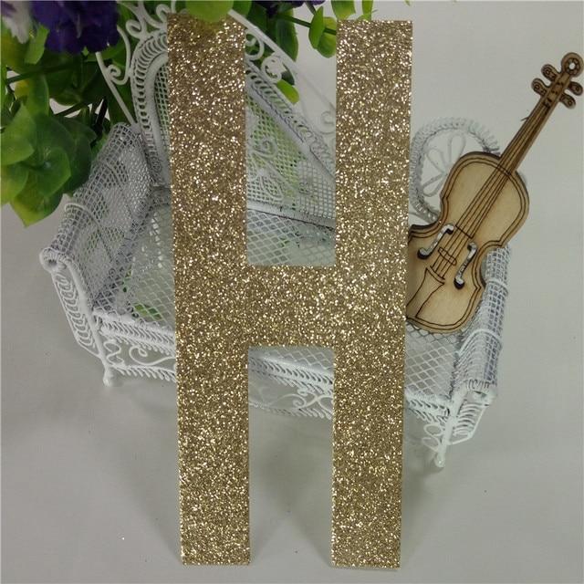 Glitter Paper Material Upper Case Letters H Gold 1000piece Per Pack