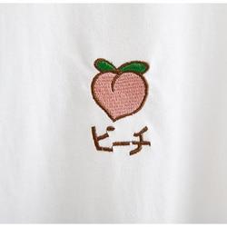 2019 New Kawaii Strawberry Embroidery Tshirt Colorful Neck Cute Tshirt Womens tee Tops Korean Ulzzang Cute Fruit Cotton T Female 5