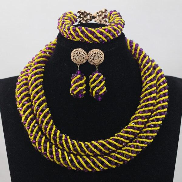 Mélange jaune violet cristal corde collier Bracelet boucles d'oreilles ensemble femmes Costume ensemble de bijoux de mariée QW946