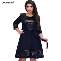 COCOEPPS New Plus Size Women Clothing Dress Fashionable Elegant Women Sequins Dresses Big Sizes Casual O