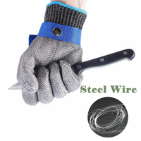 Safety Glove With Buckle Cut Proof Stab Resistant Kitchen Working Red Glove Stainless Steel Metal Mesh
