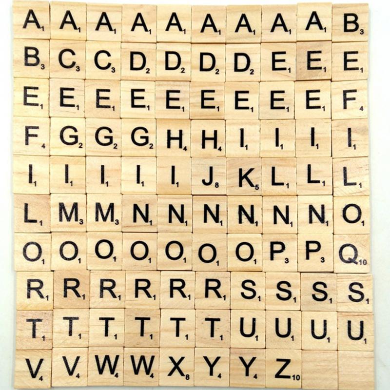 100Pcs Letter Set Word Scrapbooking Scrabble Number Alphabet Tile Wooden