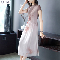 dress Vestidos OLN Korean version of the new arrival Summer products slim temperament noble mother mulberry silkL 3XL PLUS SIZE