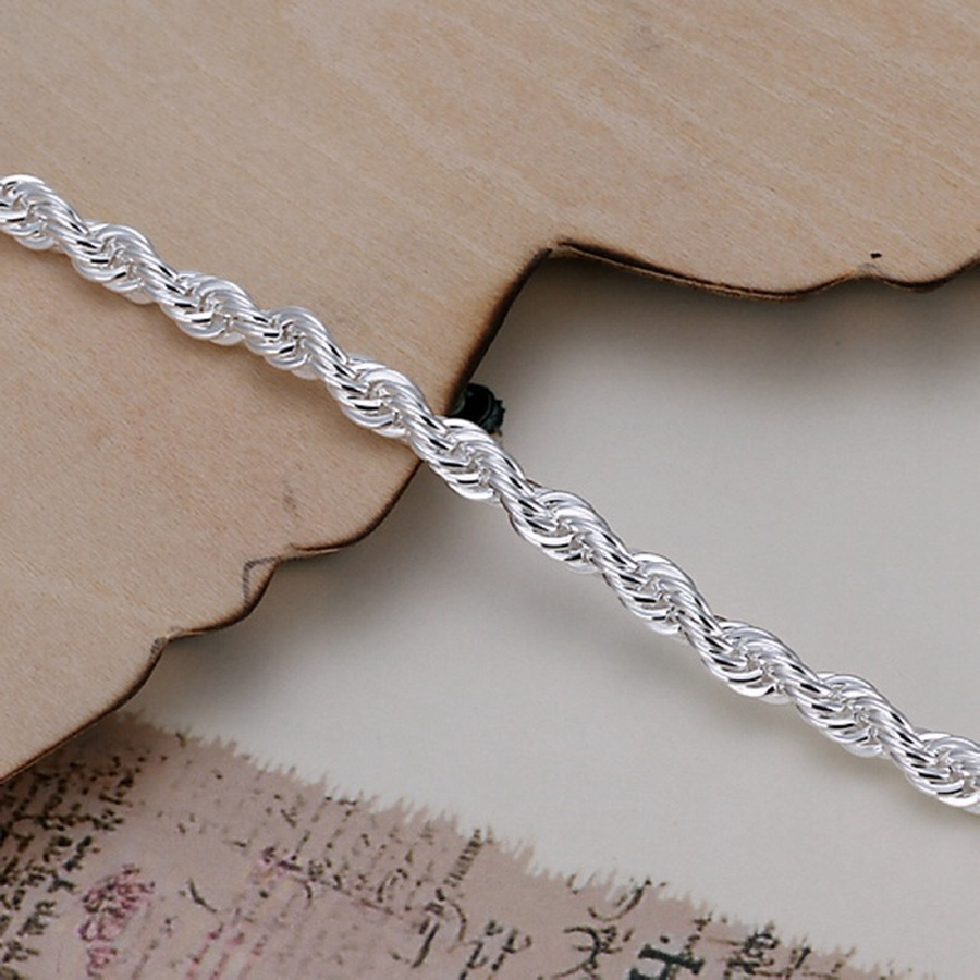 top quality 4MM Rope chain Silver color Jewelry fashion Twisted Bracelet for women men lady wedding gifts cute with , H207 1
