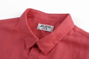 Image 5 - Повседневное Гавайские рубашки Для мужчин из хлопка и льна дизайнерский бренд Slim Fit Мужские рубашки с длинным рукавом БЕЛЫЕ РУБАШКИ для Для мужчин одежда весна S1098