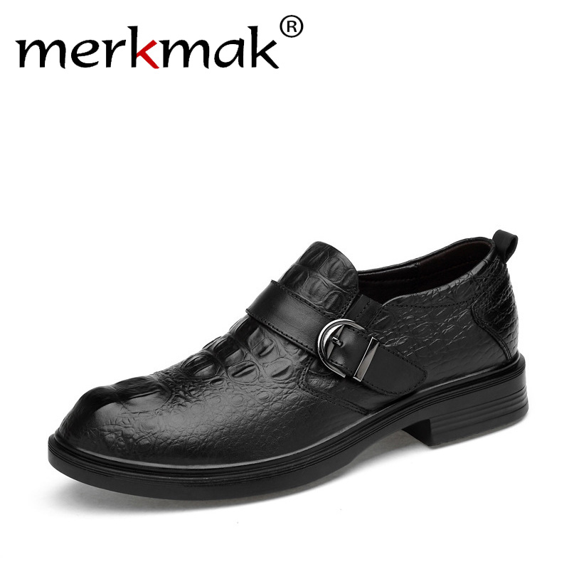 merkmak 2018 New Men Dress Shoes Formal Wedding Genuine Leather Shoes Brand Luxury Business Office Men's Flats Oxfords For Men цена