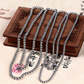 S925 Silver Beads Necklace Beads retro men and women men's shorts bead chain chain clavicle