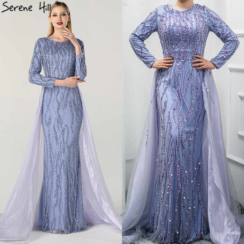 490ff5828e69a Grey Mermaid Luxury Dubai Designer Evening Dresses Beading Sequined Fashion  Long Sleeves Evening Gowns 2019 Serene Hill LA6302