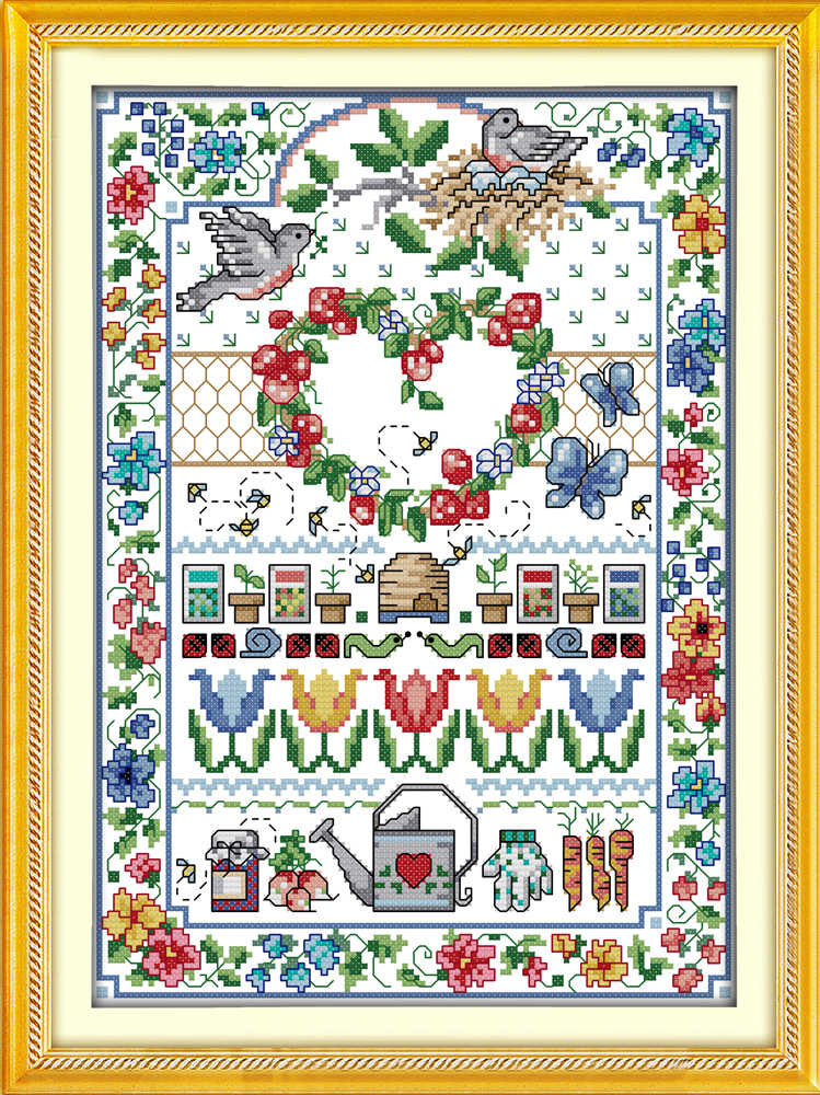 Любовь Цветы птицы животных картины Счетный напечатаны на холсте DMC 11CT 14CT наборы NKF вышивка крестиком рукоделие Наборы для ухода за кожей