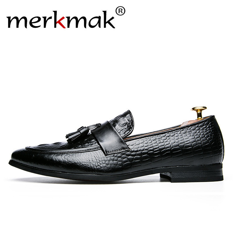 Merkmak Crocodile Pattern Men Tassel Loafers Summer Leather Shoes Lace Up Formal Business Casual Man Dress Shoes Soft Male Flats