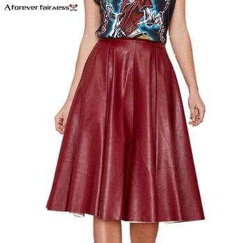 2017 Autumn Fashion Brand Women Skirt Folds PU Leather Skirt  vintage Pleated Skirt Long Casual PU Skirts saia de couro AFF656 Юбка