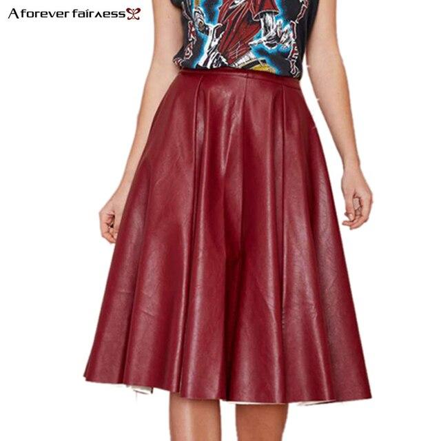 A Forever otoño moda mujer falda pliegues pu falda de cuero vintage plisada Falda  larga casual c43fb0262678