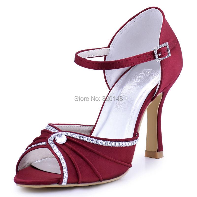 ФОТО Woman Shoes Burgundy High Heel Buckle Rhinestones Sandals Satin Wedding Bridal Shoes Bridesmaid Evening Prom Party Pumps EL-033