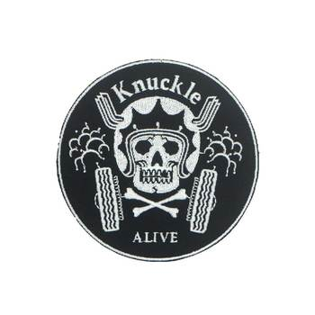 Knuck le alive biker Embroidered punk biker Patches Clothes Stickers Apparel Accessories Badge image