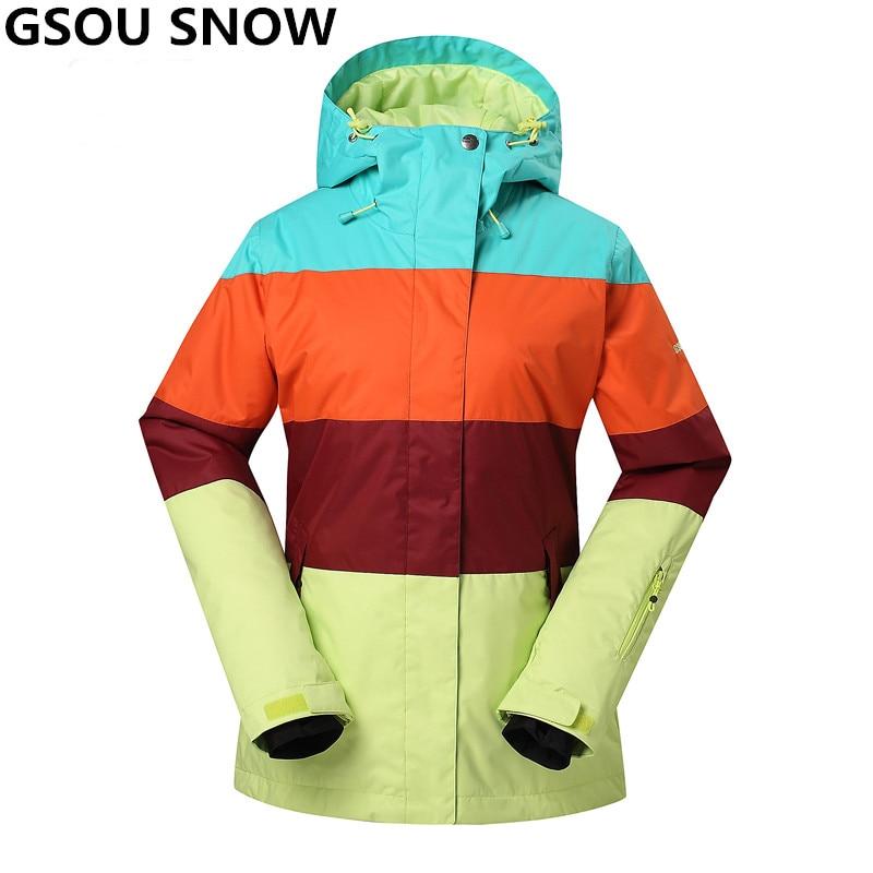 Prix pour Gsou Neige-30 Degrés ski veste femmes en plein air ski veste Imperméable 10 K Professionnel ski et snowboard snowboard veste