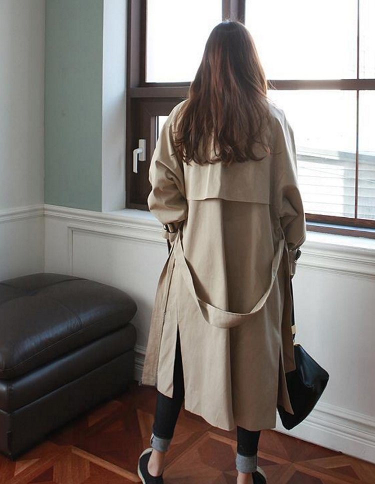 2018 Autumn New Brand Women   Trench   Coat Long Windbreaker Europe America Fashion Trend Double-Breasted Loose Long   Trench