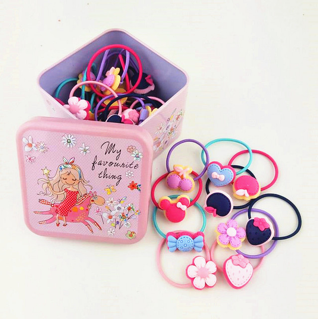 New kids girl hair accessories 40pcs elastic hair bands teens toddlers hair  ties rubber bands tiny ponytail holder head rope Q35 fcee41c7755