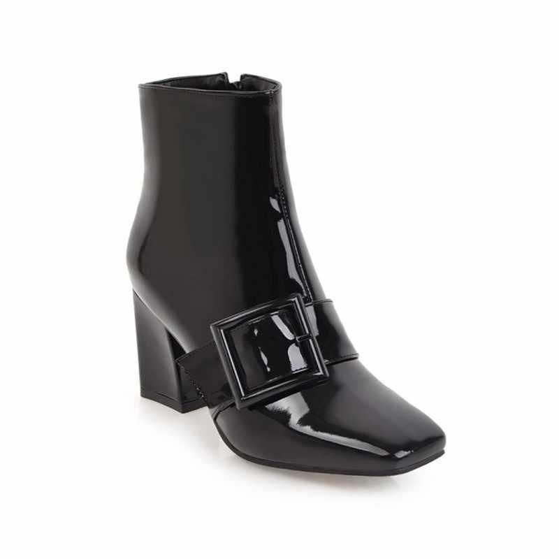 Kadın botları sonbahar kış sıcak Patent deri Zip ayak bileği Chelsea motosiklet çizmeler kare ayak yüksek topuklu 2018 yeni seksi moda