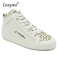CANGMA Original Brand Sneakers Women Flats White Casual Shoes Woman's Rivets Genuine Leather Shoes Mid Female Lace Up Footwear