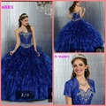Vestir mulheres 2015 azul Quinceanera Vestido de Baile de Cristal Beading Ruffled princesa 15 ano menina jaquetas Quinceanera
