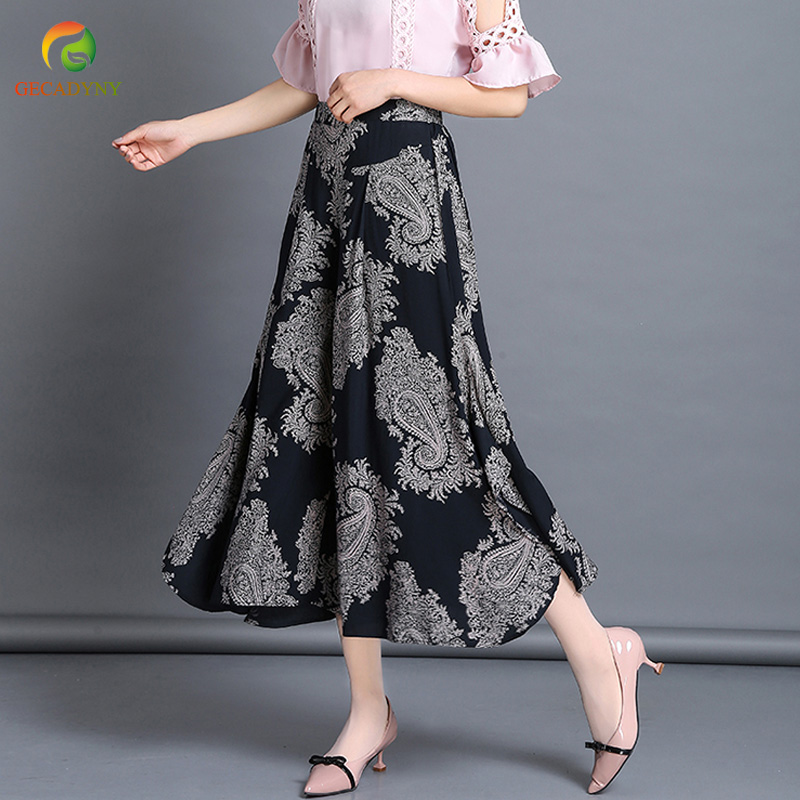 2018 Summer Palazzo Pants Women Printed Vintage Bottom Pantalon Femme Clothes Elegant Trousers Ethnic Casual Wide Leg Pants