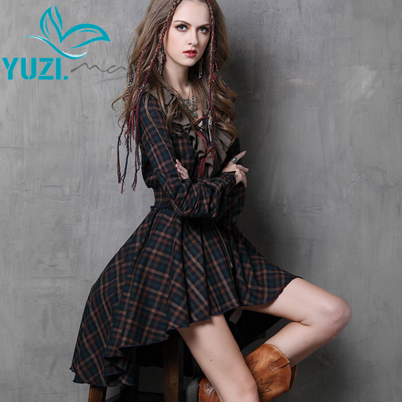 Vestidos Femininos 2017 Yuzi may Autumn New Vintage Cotton Dress Plaid Patchwork V Neck Ruffles Asymmetrical